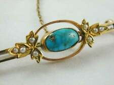 GORGEOUS ART DECO 9CT GOLD MATRIX TURQUOISE & SEED PEARL BAR BROOCH C.1920s cat