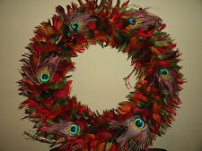 Elegant Red, Green, Orange, Peacock Feather Eyes Wreath with Case