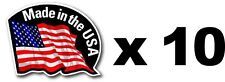 "10 PIECE SMALL OUTDOOR DURABLE MADE IN THE USA FLAG DECAL STICKER 2""x1.5"""