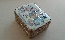 Vintage Chinese Hand Painted Rectangle Porcelain top (3 kids) Silver Plated box