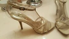 Wild Rose Strappy Beige Faux leather Platform High Heels Sz 8