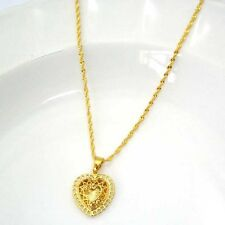 "18k Yellow Gold Filled Necklace Heart Pendant 18""Chain Link GF Charm Jewelry New"