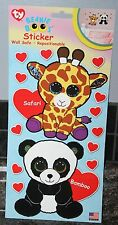 Ty Beanie Boo's Safari Giraffe/Bamboo Panda Wall Stickers/Decals-Repositionable