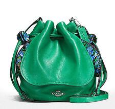 Coach Leaf Green Petal Bag in Pebble Leather Crossbody F57543 NWT $350