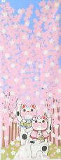 Japanese Tenugui Cotton Cloth Lucky Cat Sakura Cherry Blossom Towel Gift TB41