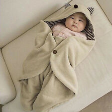 Multifunction Infant Baby Swaddle Fleece Warm Blanket Hooded Wrap Sleeping Bag