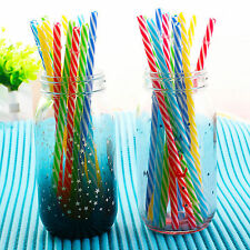 New 10 Pcs Reusable Hard Plastic Stripe drinking Straws colorful party straws nm
