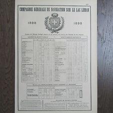 PUBLICITE ANCIENNE 1898 Cie GÉNÉRALE DE NAVIGATION SUR LE LAC LEMAN