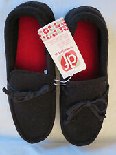 NEW df by DearFoams Black Slippers Indoor Outdoor Mens House Shoes Medium  9-10