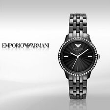 *NEW* EMPORIO ARMANI AR1478 BLACK CERAMIC CRYSTAL LADIES' WATCH - £ 399.00