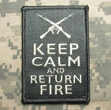 KEEP CALM AND RETURN FIRE 2N AMENDMENT TACTICAL US ACU LIGHT VELCRO MORALE PATCH