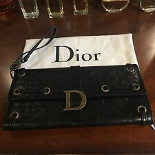 AUTHENTIC CHRISTIAN DIOR Black Quilted Cannage Lamb Skin Wristlet Wallet Clutch
