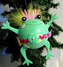WACKY SPRING FROG EASTER HANGING ORNAMENT DECORATION FEATHER HAIR