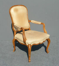 Vintage French Provincial White/Tan Leather RUSTIC ACCENT CHAIR w Cabriole Legs