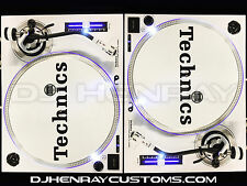 2 custom white w black accents Technics SL 1200 mk2's w white leds Halos & pitch