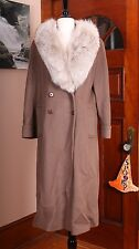 Gemini Brown Double Breasted 100% Wool and Fox Fur Collar Vintage Long Spy Coat