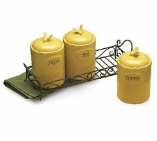 burton+Burton 3 pc Ceramic Canister Set w/ Metal Rack HONEYCOMB MELODY