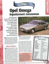 Opel Omega 2.0 Berline 4 Cyl. 1986 Germany Allemagne USA Car Auto FICHE FRANCE