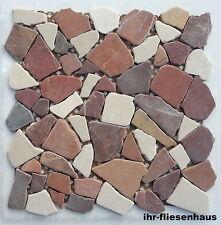 Naturstein-Mosaik Rosso Cream Mix 30,5x30cm Bruchmosaik getrommelt natur a. Netz
