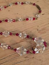 art deco Vintage Style ,deep Ruby Red Glass Crystal Bead necklace