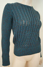 CARVEN Green & Brown 100% Wool Ribbed Long Sleeve Jumper Sweater Top Sz: M