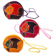 Lot of 6 Wholesale Cat Coin Purse Leather India Shantiniketan Bag Girls Gift