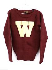 """Vintage Mens Varsity Letter Sweater Maroon Wool """"W"""" Rugby Rugged Wear"""" S 1930s"""