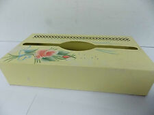 Vintage Vanity  Metal Yellow Tissue Box with Painted Rose & Open Cut Design
