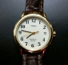 Timex Womens Indiglo Stainless Steel Gold Tone WR30M Leather Strap Watch