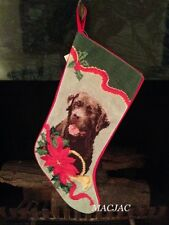 Chocolate Labrador Dog Needlepoint Christmas Stocking NWT