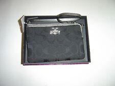 "NEW IN BOX WOMENS ""COACH"" SIGNATURE BLACK SMALL ZIP WRISTLET $65"