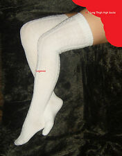 White Cable Knit Thigh High Over The Knee Socks Womens Long OTK School Girl Soft