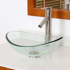 Bathroom Smaller Clear Oval Boat Glass Vessel Sink & Brushed Nickel Faucet Combo