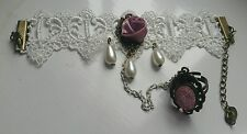 Women's Bracelet with attached Ring. Gothic / Victorian Style. Rose & Pink.