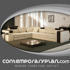 Vista Modern Italian Design Leather Sectional Sofa with Contrasting Colors NEW