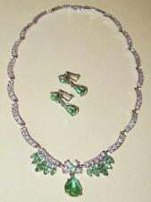VTG~Signed BOGOFF Set PERIDOT GLASS Rhinestone SCALLOP Garland NECKLACE EARRINGS