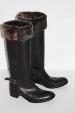 Sacco 6.5  Black Leather Pull On Knee Hi Boot Faux Shearling Lined Block Lug 37