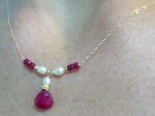 Genuine Ruby 4ctw and white pearls solid 14k gold necklace pendant