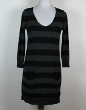 EXPRESS Sexy Black Gray Striped Wool Blend Sweater Dress Pockets Size M