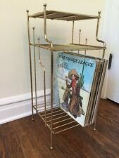 Mid Century Brass Metal Telephone Table Rack Stand Vinyl Records Wood Eames Era