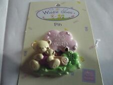 """Widdle Ones Pink Clothes Pin Badge. """"I'am A New Daddy"""". Handpainted. Free P&P"""