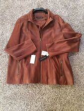 New ANDREW MARC -Marc New York Mens 3XL  Brown Leather Coat/Jacket Nice!! NWT