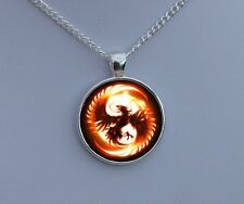 Silver Phoenix Necklace - Glass Pendant - Fantasy Fire Bird Art Jewellery Gift