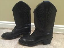 OLD WEST YOUTH BLACK LEATHER WESTERN COWBOY BOOTS SIZE 5.5 STYLE CCY 1110G EUC
