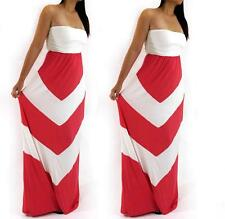 Women Coral & White Chevron Tube Top Strapless Maxi Summer Beach Long Dress 1X