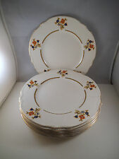 Vintage Lot of 8 J & G Meakin Sol Gladstone Dinner Plates Blue Orange Flower