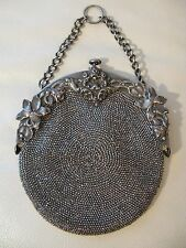 Antique Victorian Art Nouveau Tan Crochet Steel Bead Chatelaine Kilt Purse 289