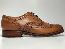 GRENSON Mens Stanley Shoes Tan 100% Leather Wingtip Oxfords $400 US 9.5 UK 8.5