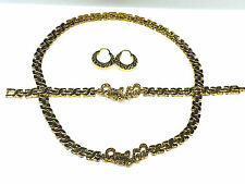 Womens Gold I Love You Hugs & Kisses Necklace,Bracelet & Earring Set Lil Hoops