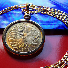 "BRASS GOLDEN LEO SIGN LION BEZEL COIN PENDANT on a 28"" Gold Filled Chain, 25mm"